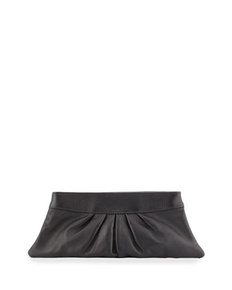 Louise Pleated-Leather Evening Clutch Bag, Black