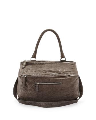 Pandora Medium Leather Satchel Bag, Anthracite