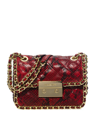 Carine Python-Embossed Medium Shoulder Bag, Red