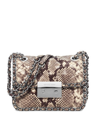 Carine Python-Embossed Medium Shoulder Bag, Natural