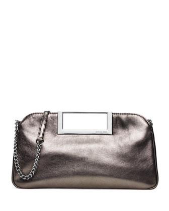 Berkley Large Metallic Clutch Bag, Gunmetal
