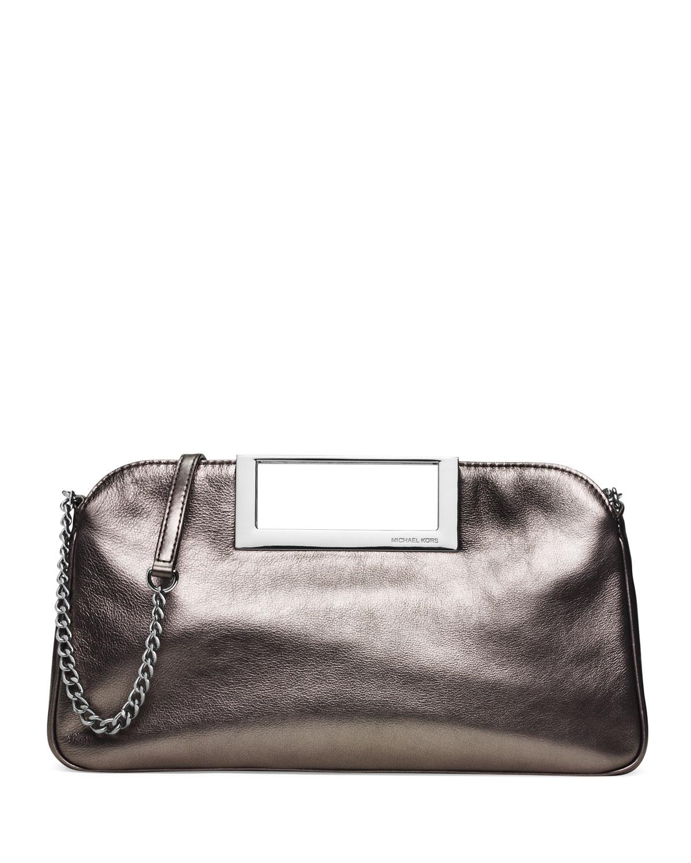 Berkley Large Metallic Clutch Bag, Gunmetal (Grey) - MICHAEL Michael Kors