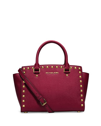 Selma Medium Satchel, Cherry