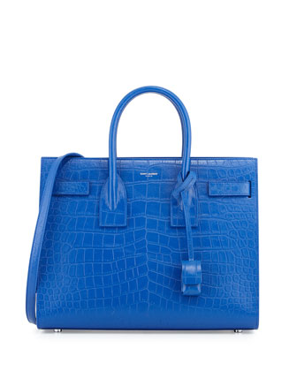Sac de Jour Small Croc-Embossed Leather Tote Bag, Royal Blue