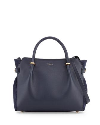 Marche Small Leather Tote Bag, Denim