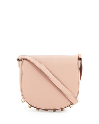 Lia Mini Leather Saddle Bag, Blush