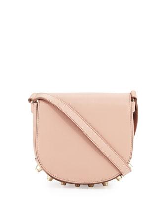 Lia Mini Leather Saddle Bag, Blush