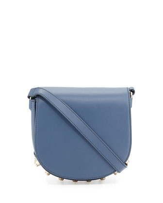 Lia Mini Leather Saddle Bag, Haze