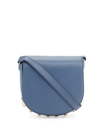 Lia Mini Leather Saddle Bag, Haze