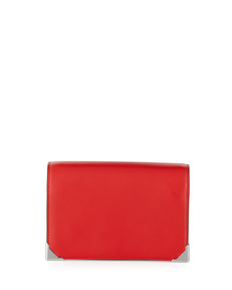 Prisma Leather Double Biker Clutch Bag, Red