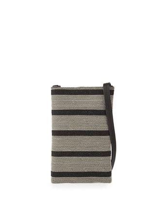 Mini Striped Monili Crossbody Bag, Black/Silver