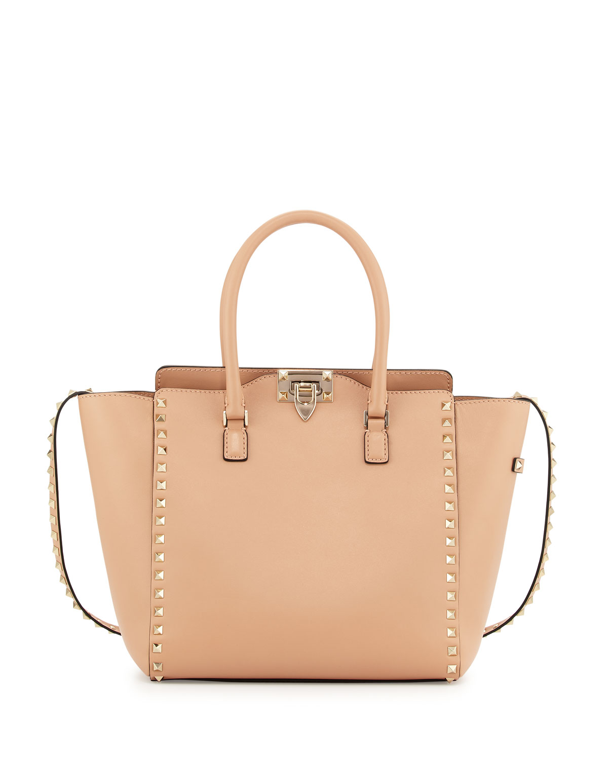 Rockstud Leather Pagoda Shopper Bag, Dark Beige - Valentino