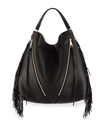 Fringe Moto Leather Hobo Bag, Black