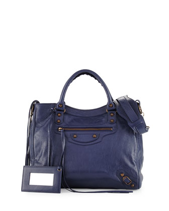 Classic Velo Lambskin Crossbody Bag, Dark Blue