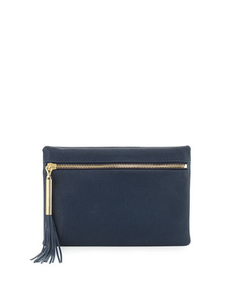 Scott Perforated Leather Clutch Bag, Yachting Navy