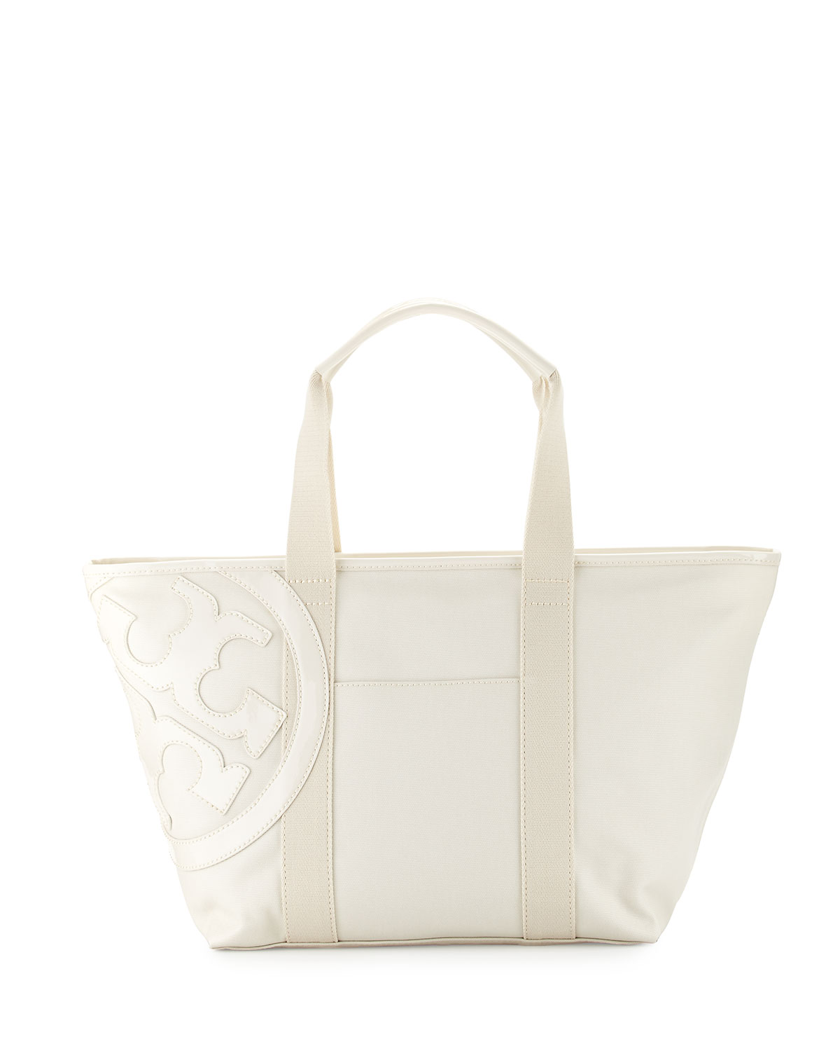 Tory Burch Beach Small Zip Tote Bag, New Ivory, Size: S