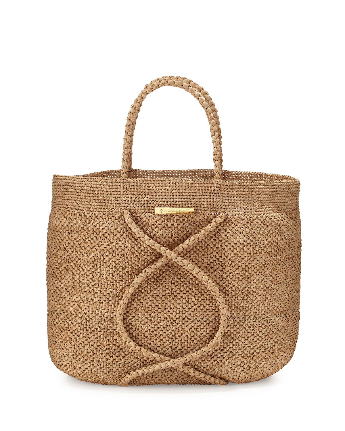 X Straw Beach Bag, Natural - Vix