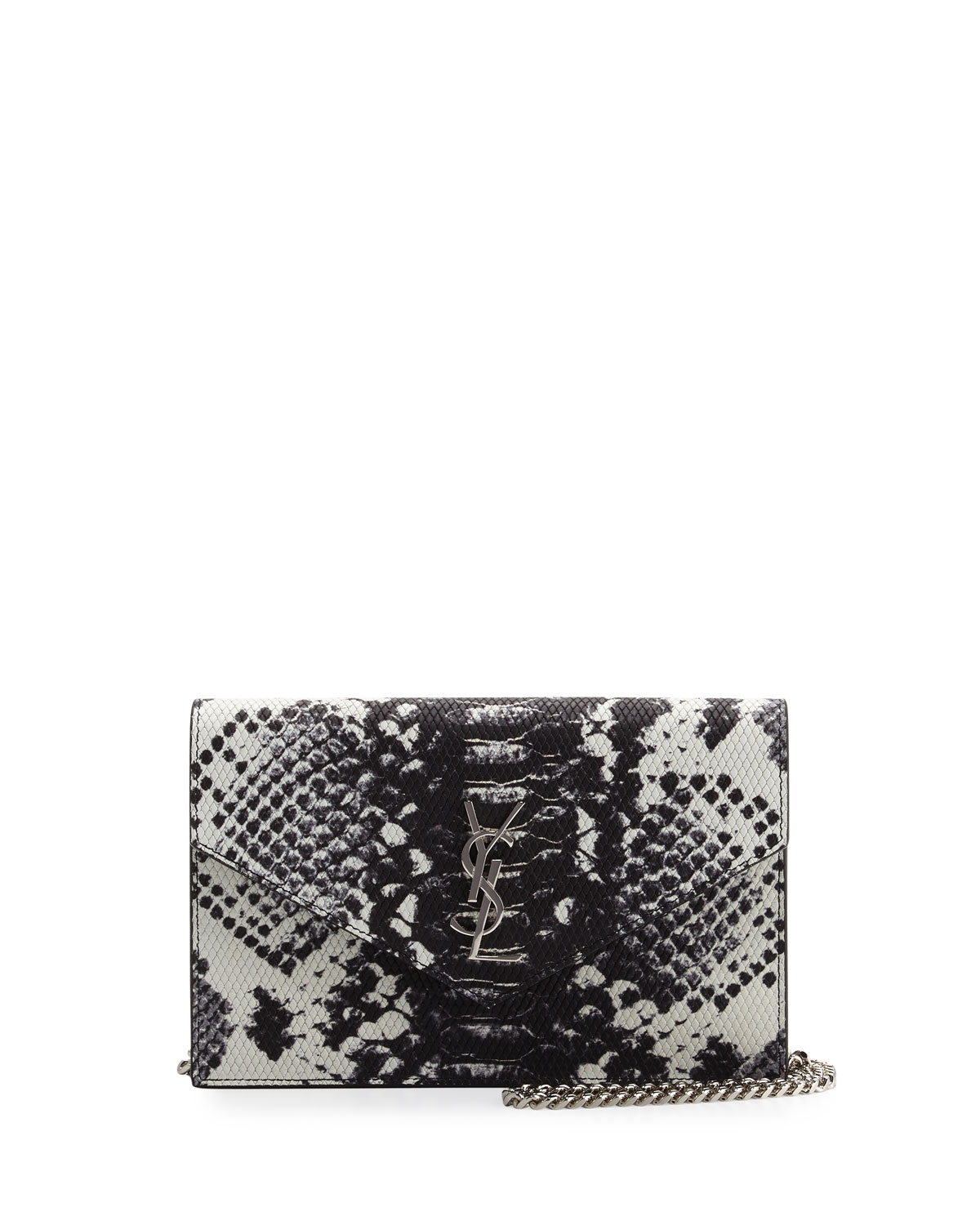 Yves Saint Laurent Monogram Leather Small Wallet-On-Chain, Black/White, Size: S
