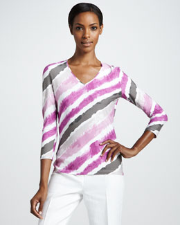 Lafayette 148 New York V Neck Knit Tee, Blossom Multi