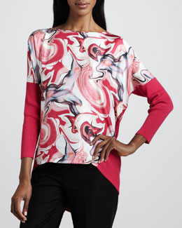 Lafayette 148 New York Mix-Fabric Printed Top