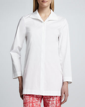 Marla Placket-Front Blouse, White
