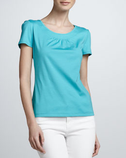 Lafayette 148 New York Pleated Round-Neck Tee
