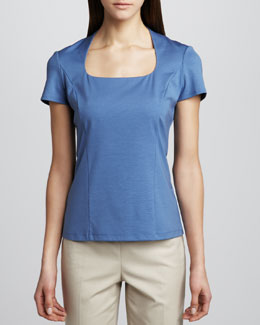 Studio 148 by Lafayette 148 New York U-Neck Cap-Sleeve Jersey Top