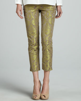 Merrill Blouse & Cropped Pants with Metallic Highlights