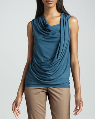 Draped Cowl-Neck Tunic