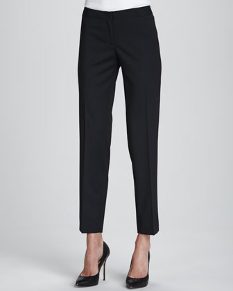 Sleeveless Silk High-Low Blouse & Astor Stretch Crepe Slim-Leg Pants