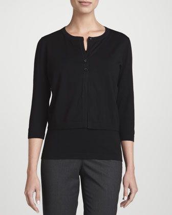 Fine-Gauge Wool Cropped Cardigan