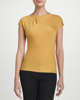 Pleated-Neck Short-Sleeve Top