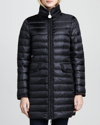 Vanne Ruched-Trim Long Puffer Coat, Black