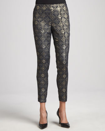 Medallion Jacquard Pintucked Pants