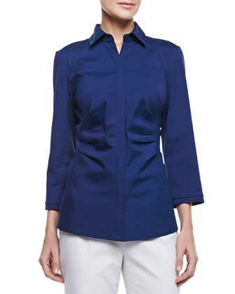 Luna Stretch-Cotton 3/4-Sleeve Blouse