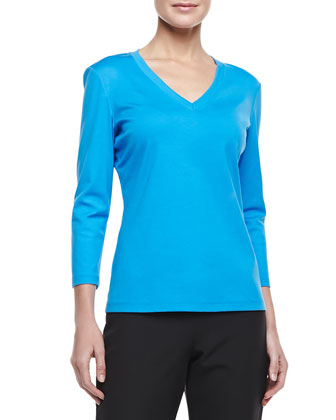 3/4-Sleeve V-Neck Top