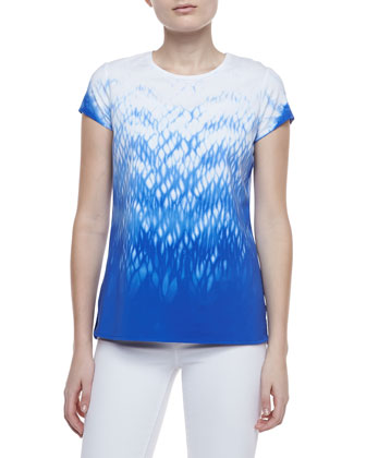 Neptune Short Sleeve Printed Top, Blue/White