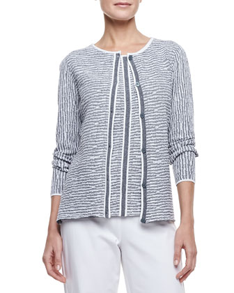 Jacquard Button-Front Cardigan