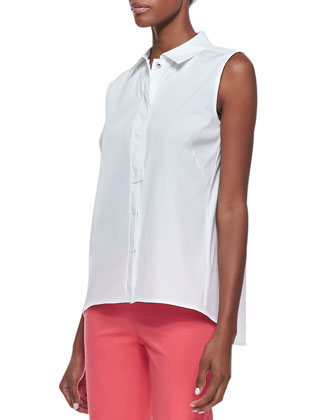 Stretch-Cotton Sleeveless Blouse, White