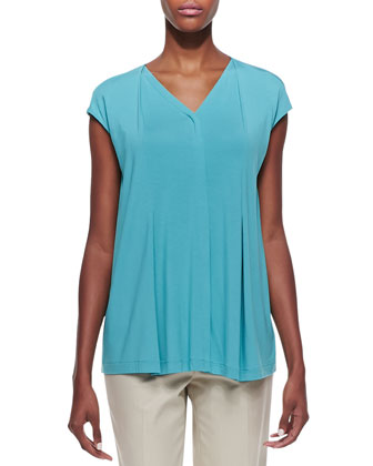 Lightweight Pleated Cap-Sleeve Top, Turquoise
