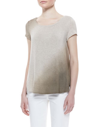 Pumice Dye Ombre Tee & Rolled-Ankle Curvy Jeans