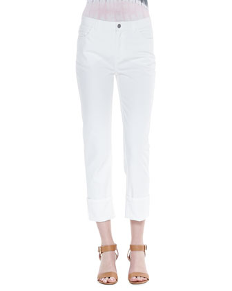Rolled-Ankle Curvy Jeans, White