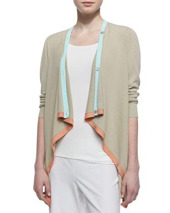 Contrast Trim Cardigan, Khaki/Multicolor
