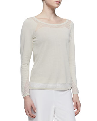 Long Sleeve Mesh Accent Sweater, Raffia