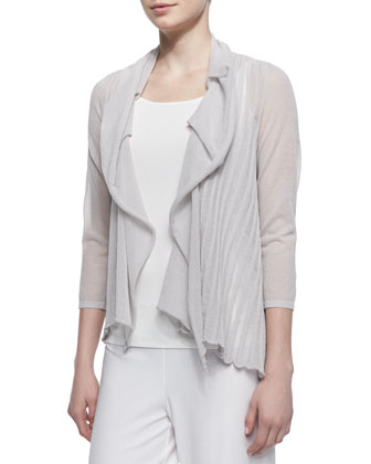 Pleated Stripe Cardigan, Vapor Gray