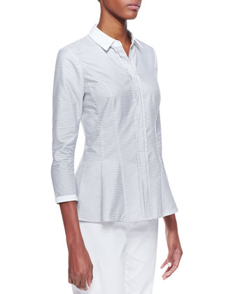 3/4-Sleeve Striped Blouse, Vapor (White/Gray)