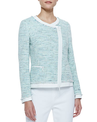 Tweed Asymmetric Zip-Front Jacket