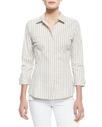 Hampton Check Blouse, Khaki