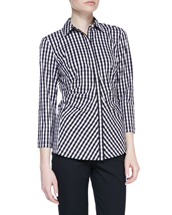 Hampton Check Blouse, Black