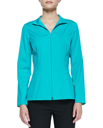 Stretch-Cotton Zip-Front Blouse